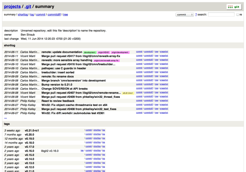 GitWeb 的网页用户界面