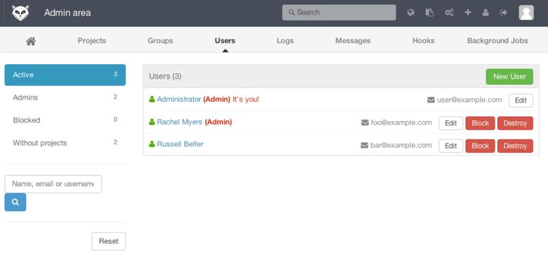 .GitLab 用户管理界面。