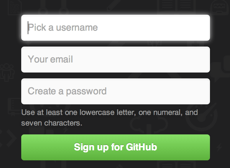The GitHub sign-up form.