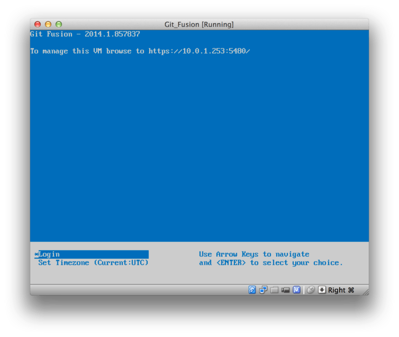 The Git Fusion virtual machine boot screen.