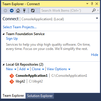Connecting to a Git repository from Team Explorer.