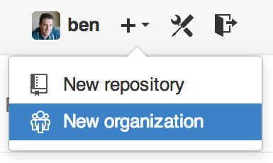 The ``New organization'' menu item.